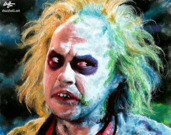 "Print 8x10"" - Beetlejuice - Horror Comedy Tim Burton Gothic Halloween Dark Art Funny Spooky Creepy Classic Portrait Pop Michael Keaton"