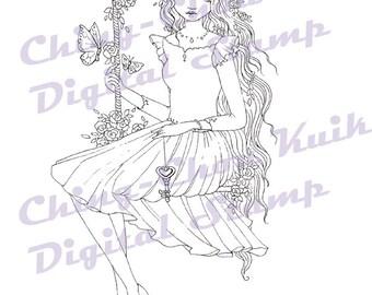 Gentle as Breeze - Instant Download Digital Stmap / Valentine Love Heart Key Swing Butterfly Flower Girl by Ching-Chou Kuik