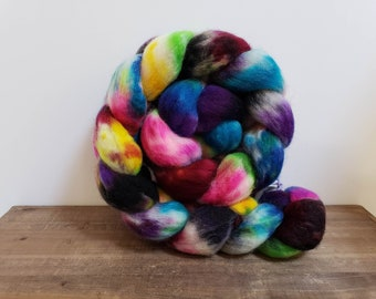 Superwash Bfl- bluefaced leicester- combed- wool top- roving- 4oz- Hand Painted-Hand Dyed- Raining Unicorns