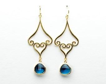 Moroccan Blue Sapphire Drop Earrings, Dangle Earrings, Wedding Jewelry, Bridesmaid Jewelry, Mother's Day, Graduation Gift