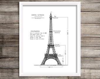 "Eiffel Tower Blueprint, Eiffel Tower, Paris Decor, Blueprint Art, Home Decor, Printable Art, Eiffel Tower Decor, Wall Art, Blueprints, 8x10"""