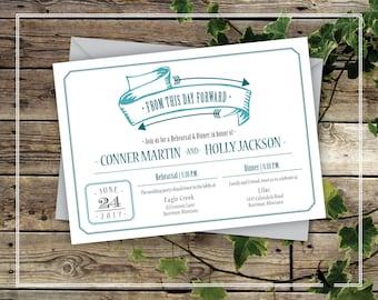 Printable Rehearsal Dinner Invitation - Teal Wedding Rehearsal Dinner Invitation From this day forward Arrow and Banner - Custom Colors