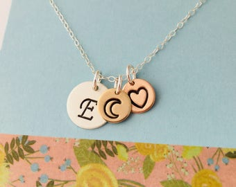 Moon Necklace, Initial Necklace,