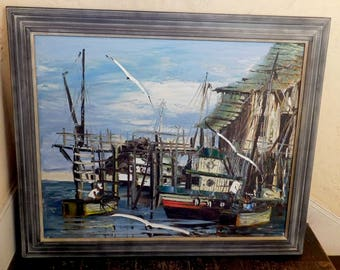 Vintage Oil on Canvas Painting by Charles Beauvais - Fishing Boat, Dock, Marine Fishing - Listed California Artist 1960s - Framed