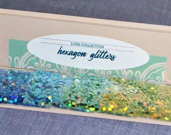 Hexagon Glitter Sample Pack in Bluegreens