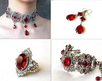 Red Gothic Jewelry Set Red Swarovski Choker Bracelet Earrings Ring Silver Red Crystal Jewelry Set Red Victorian Gothic Wedding Jewelry