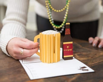 Draft Beer Pop Up Card, Beer Pop Up Card, Beer Bottle Pop Up Card, Beer Celebration, Beer Birthday Card, Celebration Card, Birthday, Lovepop