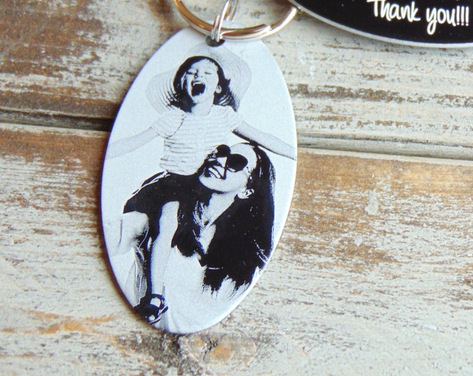 Mother's Day Photo Keychain-Back Engraving-Your Handwriting Option-Gift Ideas- Black Aluminum Custom Key Chain - Laser Engraved- Unique Gift