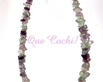 Mid-length necklace  with chips fluorite