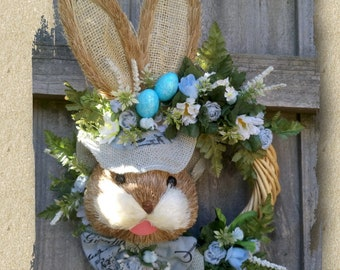 Easter Wreath - Bunny Rabbit Door Hanger - Easter Decoration - Straw Rabbit Wall Wreath - Easter Rabbit - Easter Bunny - Easter Eggs