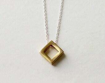 Brass Diamond Necklace, Brass Geometric Jewelry, Modern Minimal Jewelry, Mixed Metal Jewellery, Modern Brass Jewelry, Minimal Jewellery