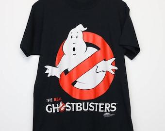 The Real Ghostbusters Shirt Vintage tshirt 1986 Movie Bill Murray Dan Aykroyd Harold Ramis Ernie Hudson Rick Moranis Slimer Funny Classic