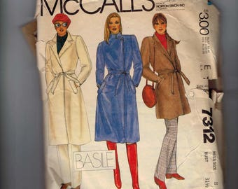 1980s Vintage Sewing Pattern McCalls 7312 Misses Coat and Pants Size 8 Bust 31 32 1980 80s