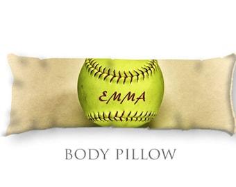 Softball Body Pillow-Softball Bed Pillow-Custom Body Pillow Cover-Large Pillow Cover-Sports Pillow Cover-Softball Pillow Cover-Bed Bolster