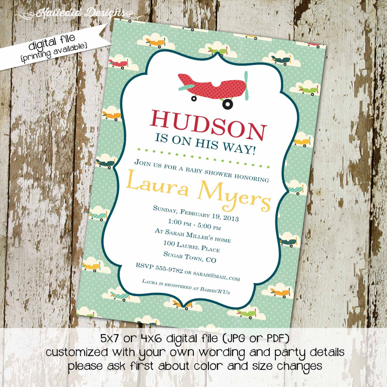 Airplane baby shower invitations Travel baby shower invitation
