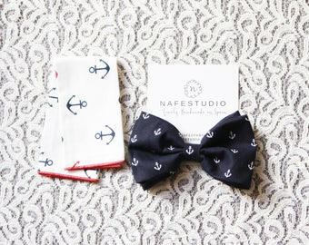 Men's Bow Tie Pre-tied Bow Tie For Men Boy - Anchor Bowtie Nautical Bow Tie Navy Blue Bow Tie - Groom Groomsmen Men Gifts Wedding Gifts