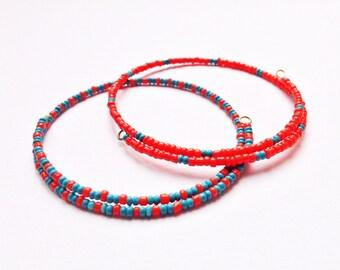 Set of 2 Eco Friendly Minimalist Friendship Bracelets Orange and Turquoise Valentines Day