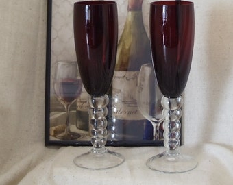 Exquisite  2 Tall Champagne Flute, Ruby Red Bowl, Multi Bulbous Stem and Clear Foot,#VB7214