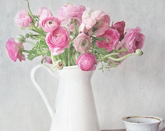 Ranunculus Photography- Pink Flower Photo, Flower Photography, Cottage Chic Art, Still Life Photo, Tea Room Art, Pink Ranunculus Print