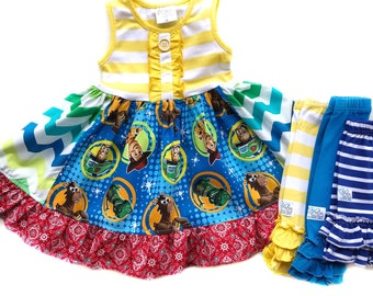 Toy Story Land dress Pixar Fest Buzz Lightyear, Woody, Rex, Bullseye birthday party Disney world dress