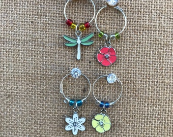 Dragonfly and Floral Wine Glass Charms