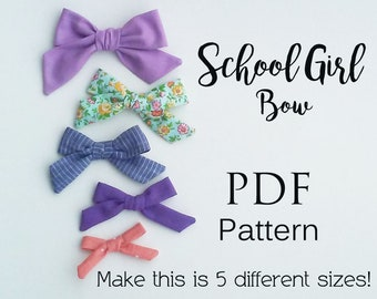 School Girl PDF pattern, bow pattern, bow tutorial, pdf sewing pattern, hand tied bows, piggie bows, nylon baby headband, toddler bows