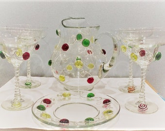 Margarita 6 Piece Set-Pitcher-4 glasses-Salt Plate, Beaded Stemware, Drinks and Barware, Beaded Glass, Bar Decor, Margarita Glass, Pitcher