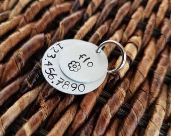 "hand stamped pet ID tag - 2 discs (3/4"" disc and 1"" disc) in aluminum or copper"