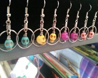 Handmade dangle skull earrings***FREE SHIPPING ***