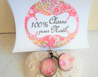 "Earrings 20 mm glass cabochon Stud Earrings ""arabesque fuchsia and yellow"" bronze, optional gift box"