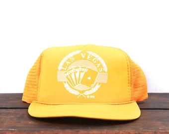Vintage Yellow Las Vegas Nevada Cards Poker Gambling Trucker Hat Snapback Baseball Cap