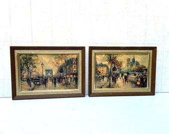 "Mid-Century Pair of ""Turner Accessories"" Framed Art Prints, Modernistic Street Scenes"