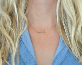 Dainty gold tube necklace