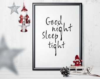 Good Night - PRINTABLE/DOWNLOADABLE poster scandinavian style typoposter typographic wall decoration