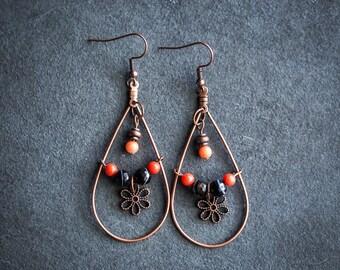 Boho Beaded Copper Earrings / Orange and Black Earrings / Stone Earrings / Agate Earrings / Gift for Her