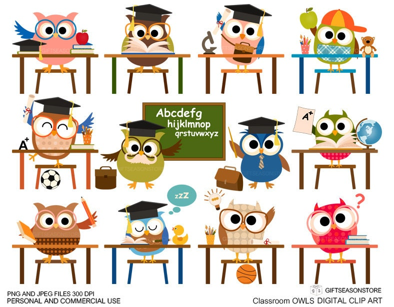 Classroom owl clip art for Personal and Commercial use