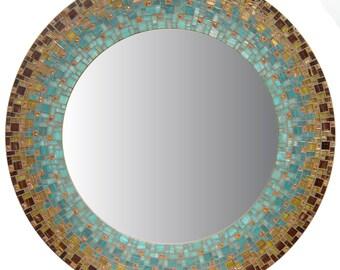 Handmade Mirror | Moroccan Mirror | Mosaic Mirror | Brown, Sea Green, Teal, Orange, Copper