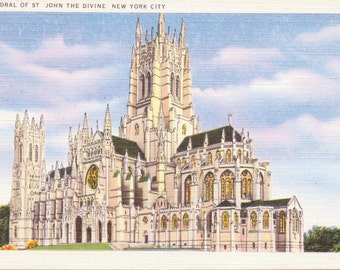 New York City, New York, Cathedral of St. John the Divine - Vintage Postcard - Postcard - Unused (A6)