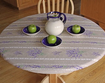 """Elasticized Round 31""""-40"""" Fitted Coated Tablecloth - Choose the Size & Fabric - Umbrella Hole Available  French Provencal Waterproof Fabric"""