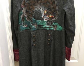 Hand painted long coat - Menswear Maxi Duster