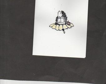 1 Penny Black stamped hedgie on flower with envelope