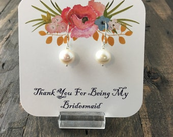 Thank You For Being My Bridesmaid Jewelry Packaging, Bridal Party Gift Packaging-Earrings Not Included