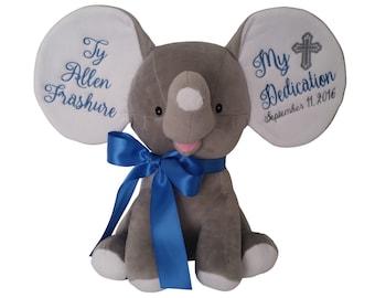 Personalized Baby Baptism Gift, Baby Christening Gift, Baby Dedication Cross, Plush Elephant Stuffed Animal