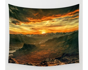 Wall Tapestry, Mountain Tapestry, Wall Hanging,Mountain Clouds Sun Nature Wanderlust,Wall Decor, Photo Wall Art, Modern Tapestry, Home Decor