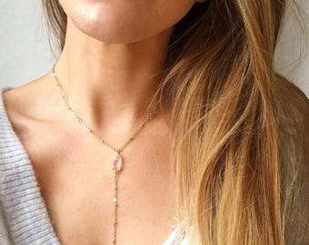 Rose gold necklace, rose quartz necklace, rose gold lariat necklace, Y necklace gold, rose gold choker, January Birthstone Serenity Project
