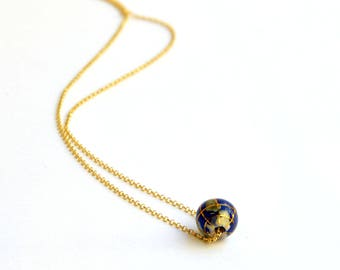 Unique necklace etsy lapis lazuli globe gold plated silver dainty necklacedelicate necklacessphere necklace aloadofball Images