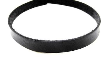 Leather strap, black, 10 mm