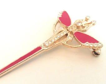 Vintage brooch Dragonfly Red/gold 6 cm
