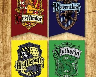 "OVERSIZED Harry Potter Printable Hogwarts House Crest Banners     Gryffindor, Slytherin, Hufflepuff & Ravenclaw    Digital Download   20x30"""