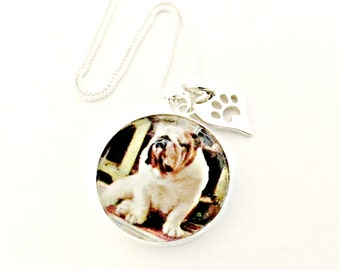 Custom Pet Photo Necklace with Sterling Silver Paw Print Charm - ACTUAL Pet Picture - Pet Lover's Remembrance, Loss, Memorial Jewelry, Gift